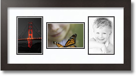 27x26 Espresso collage picture frame 7 opening Super White and Black mat