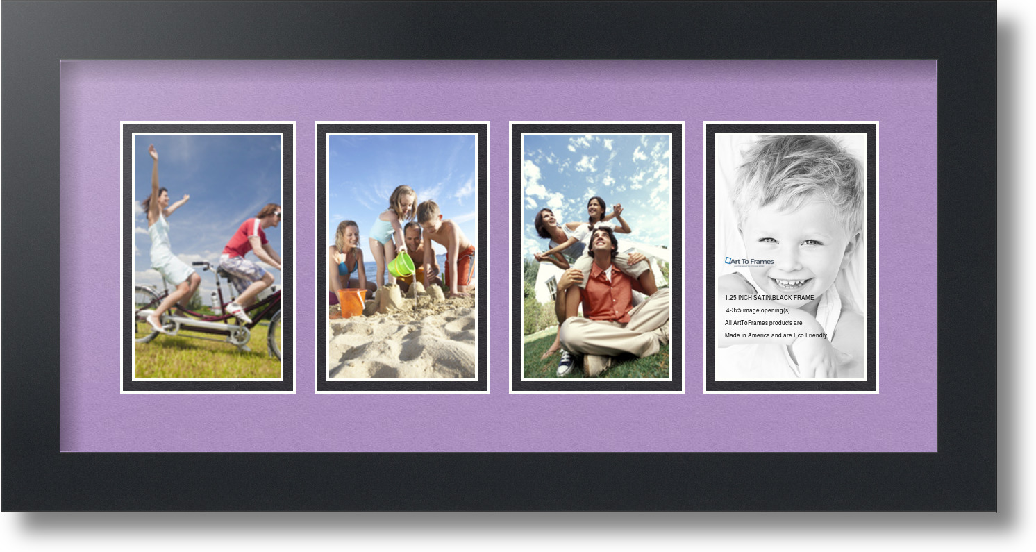 ArtToFrames Collage Mat Picture Photo Frame - 4 3x5u0026quot; Openings in Satin ...