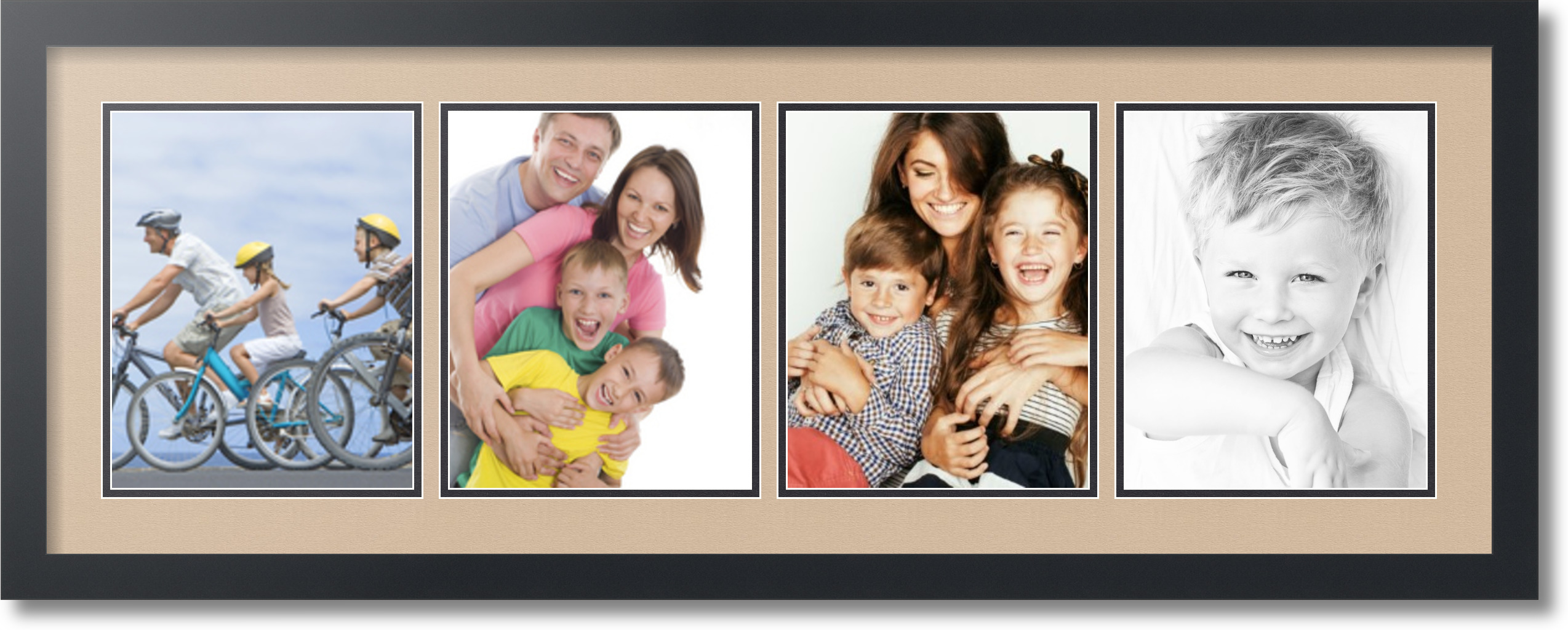 arttoframes collage mat picture photo frame 4 8x10 openings satin black 19 ebay. Black Bedroom Furniture Sets. Home Design Ideas