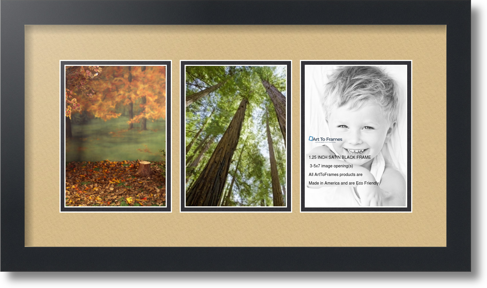arttoframes collage mat picture photo frame 3 5x7 openings in satin black 24. Black Bedroom Furniture Sets. Home Design Ideas