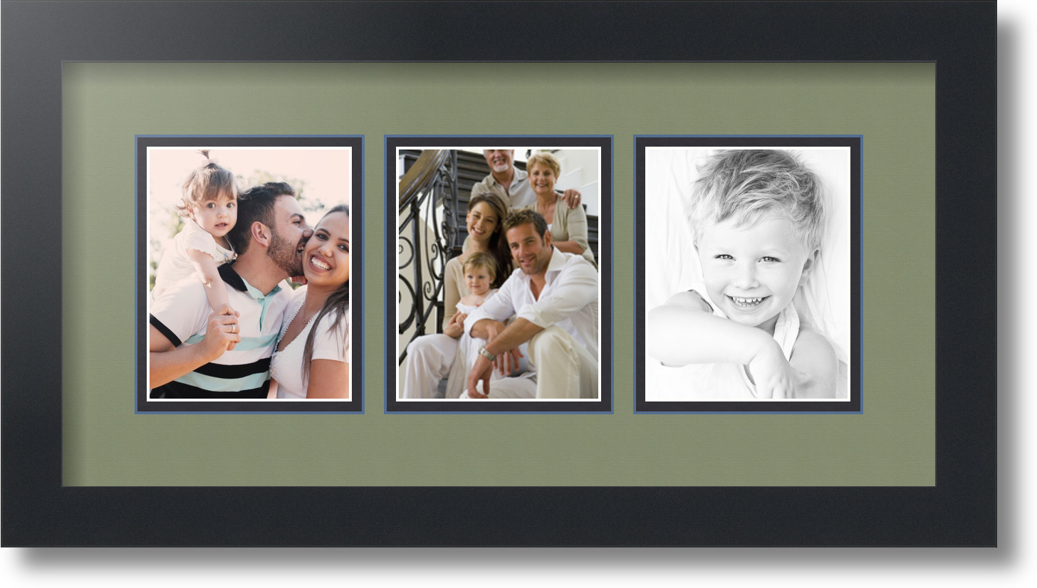 arttoframes collage mat picture photo frame 3 4x5 openings in satin black 32 ebay. Black Bedroom Furniture Sets. Home Design Ideas