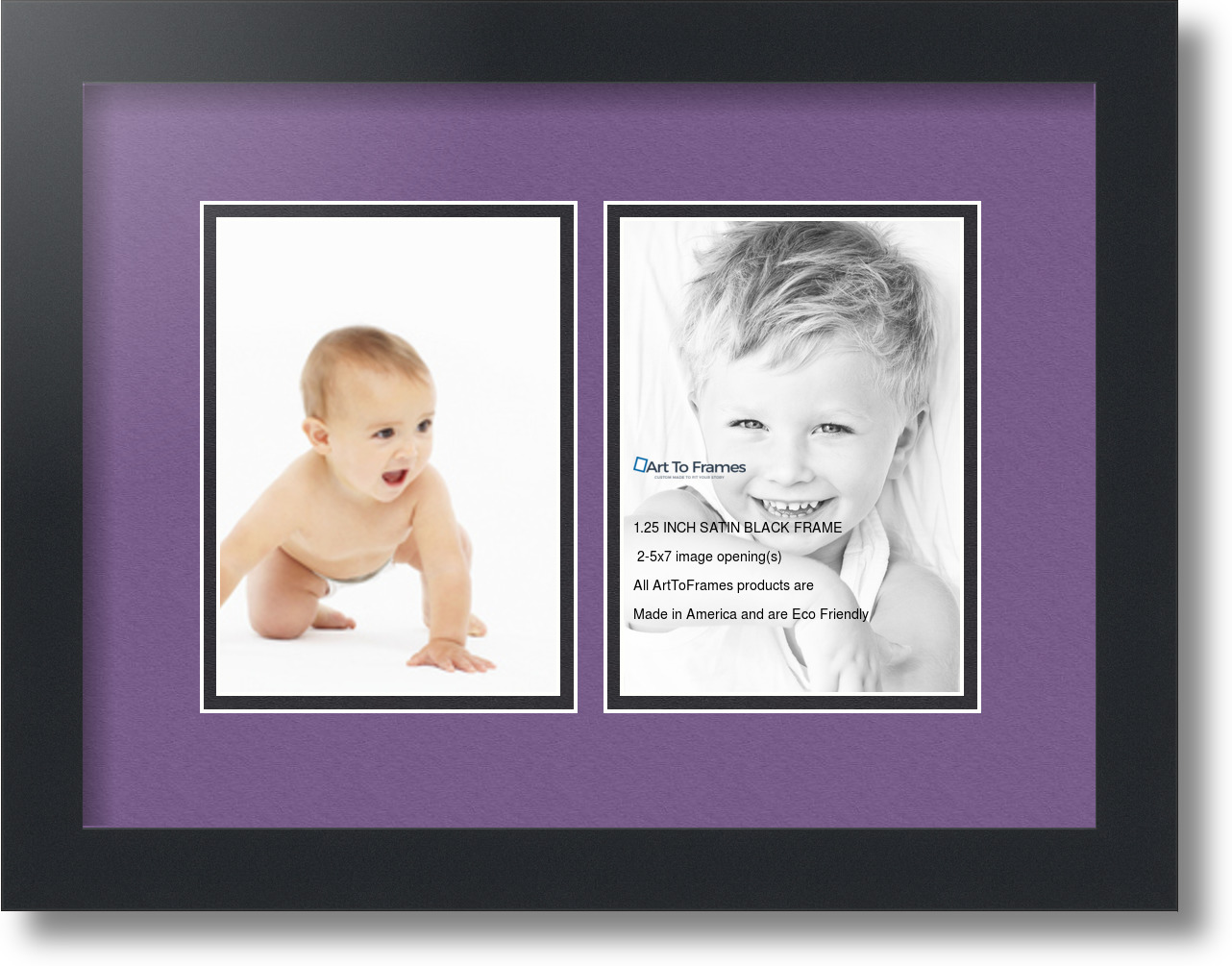 arttoframes collage mat picture photo frame 2 5x7 openings in satin black 35 ebay. Black Bedroom Furniture Sets. Home Design Ideas