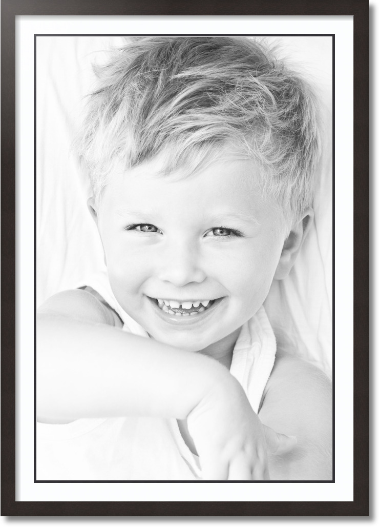 28x40 Coffee collage picture frame 1 opening Super White and Black mat